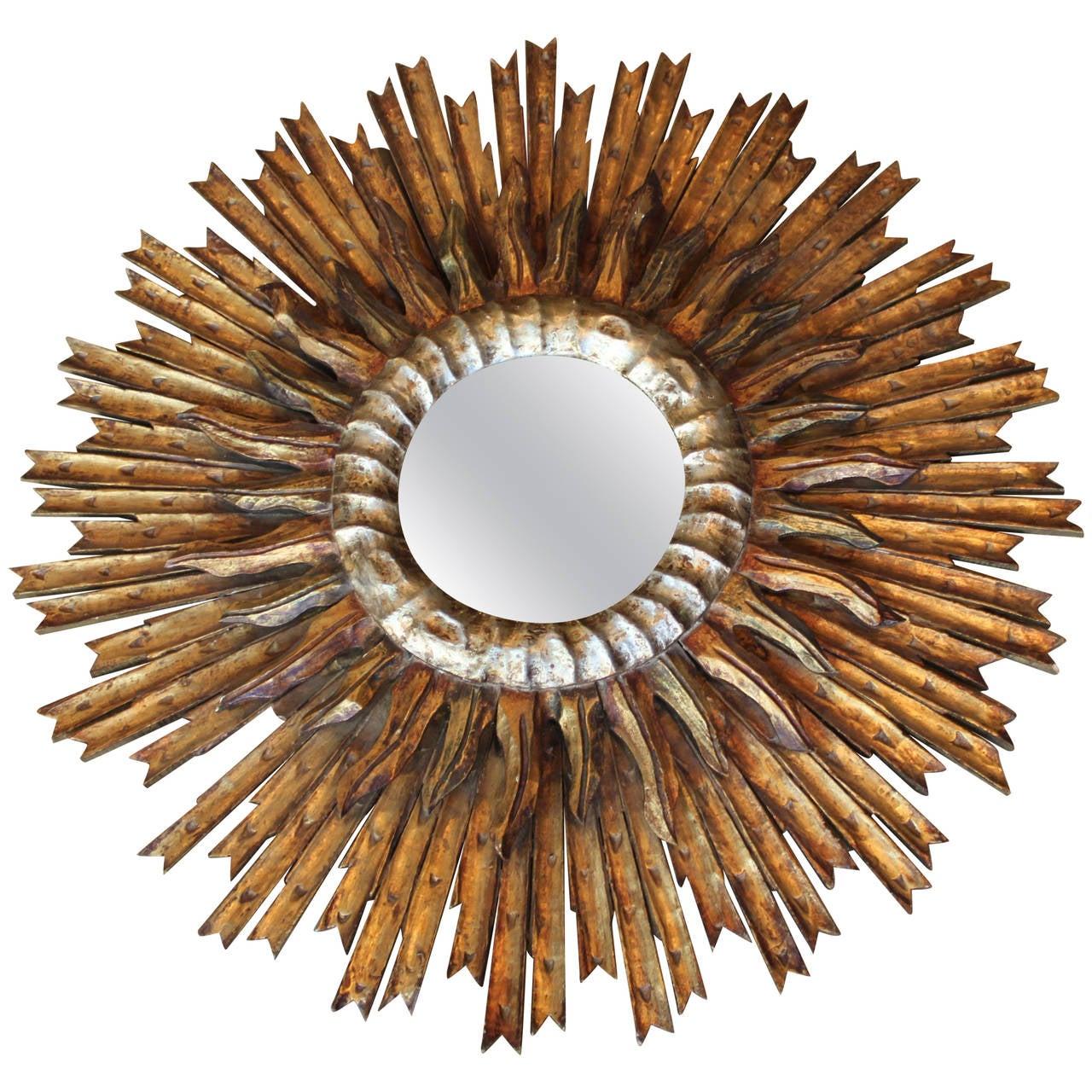 French gold and silver sunburst or starburst convex mirror for Sunburst mirror