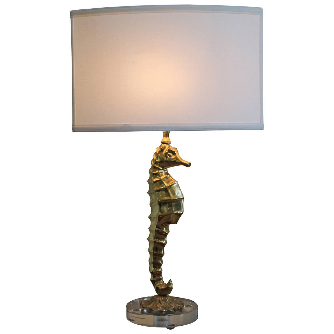 Vintage Brass Seahorse Lamp with Lucite at 1stdibs