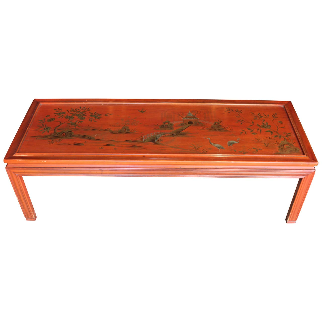 Red Lacquer Chinoiserie Coffee Table Marked John Widdicomb At 1stdibs