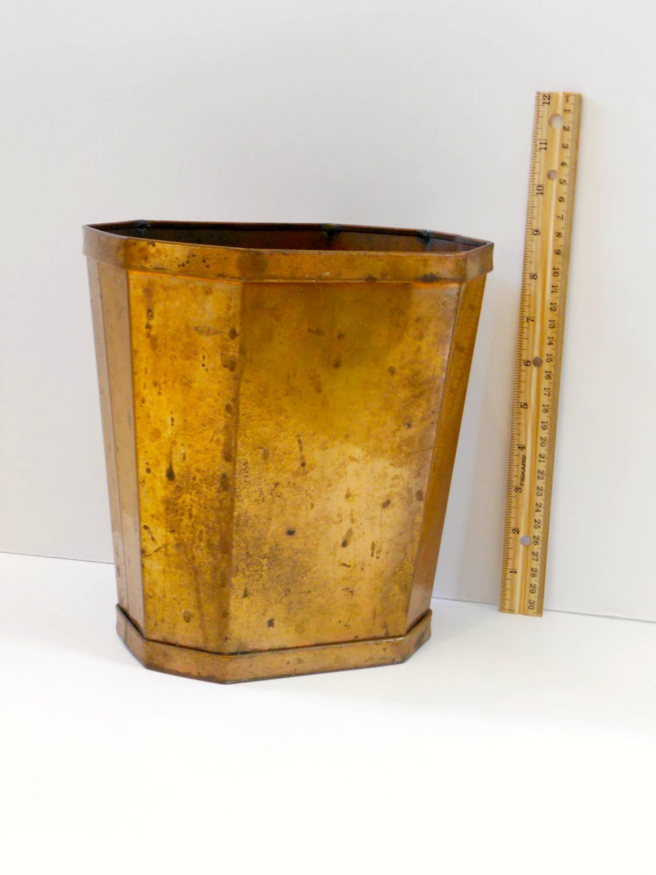 Patinated copper waste bin 20th century at 1stdibs - Copper wastebasket ...