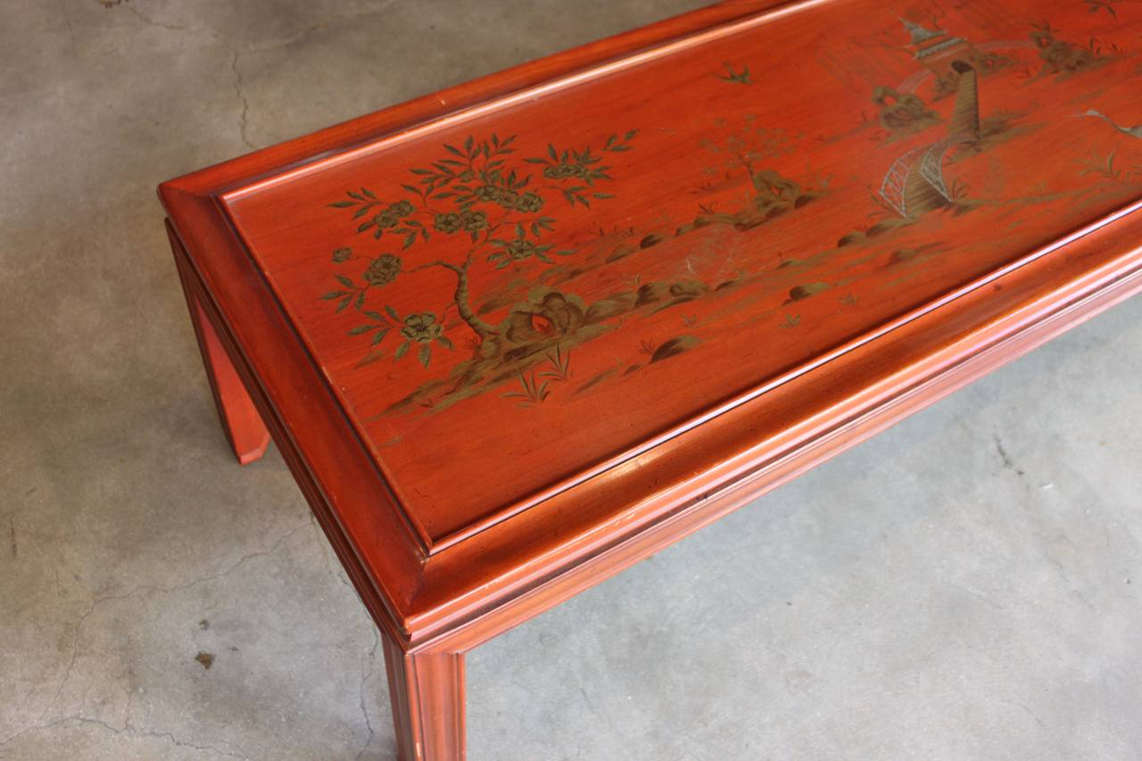 Awe Inspiring Red Lacquer Chinoiserie Coffee Table Marked John Widdicomb Bralicious Painted Fabric Chair Ideas Braliciousco