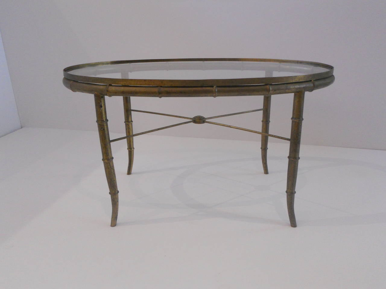 Vintage Faux Bamboo Brass Small Cocktail Table For Sale At 1stdibs