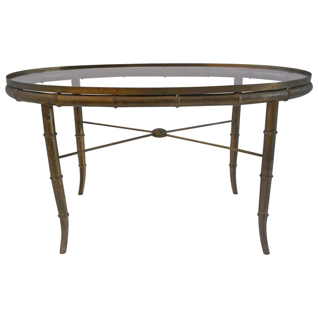 Vintage Faux Bamboo Brass Small Cocktail Table At 1stdibs