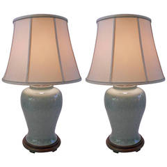 Massive Pair of Chinese Celadon Lamps with Original Shades