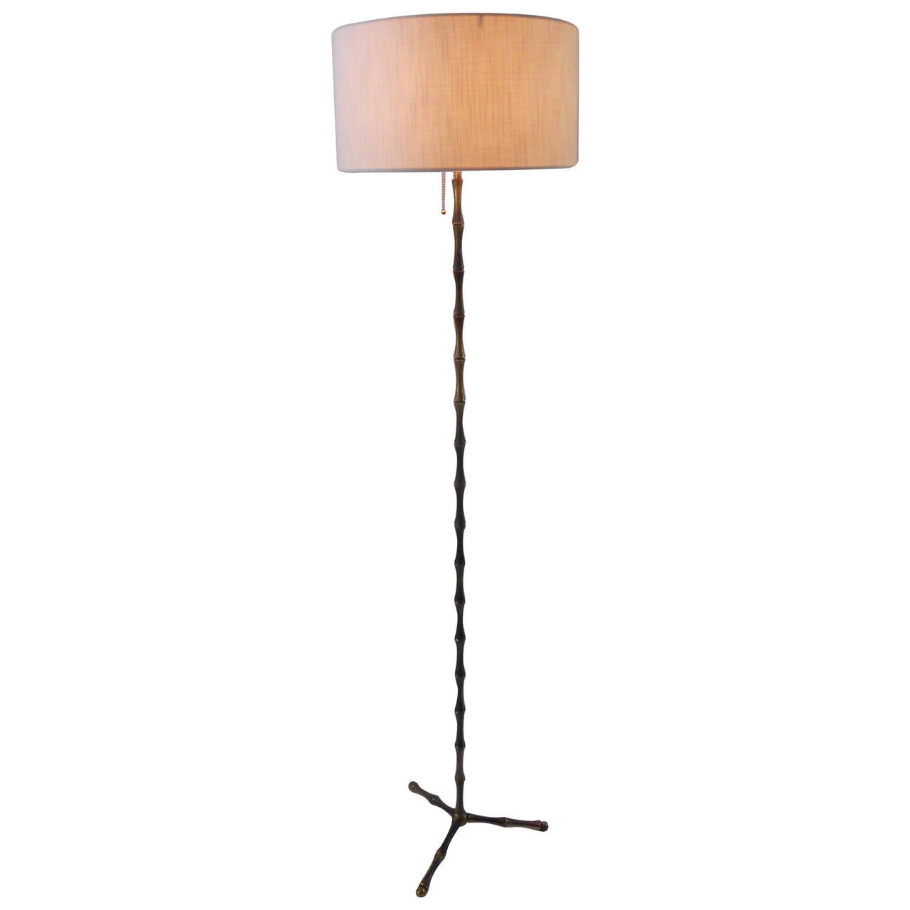 French Faux Bamboo Floor Lamp, 1950