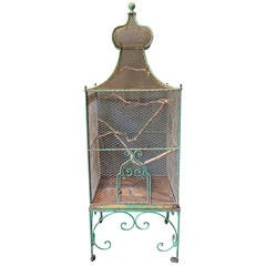 Monumental 19th Century French Green Painted Bird Cage