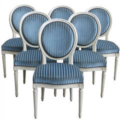 Set of Six Louis XVI Style Painted Dining or Side Chairs, France 20th Century