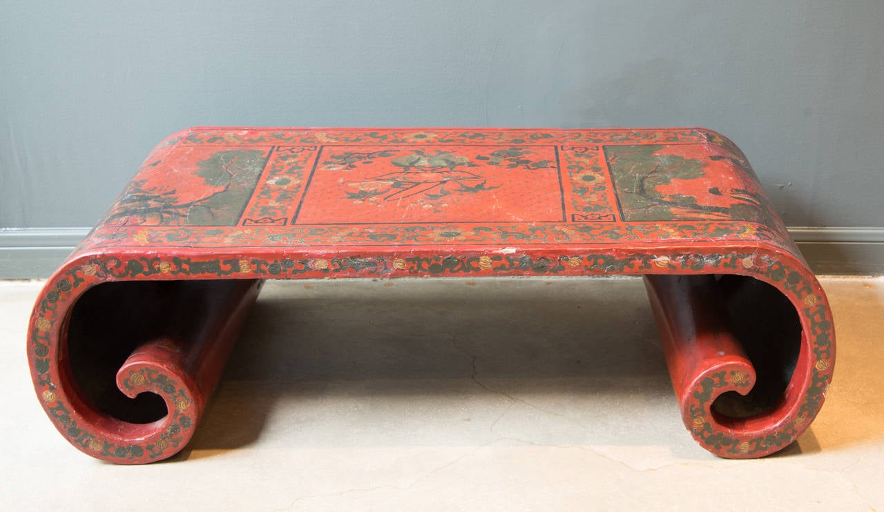 19th Century, Chinese Red Lacquer Scroll Low Cocktail Table 2