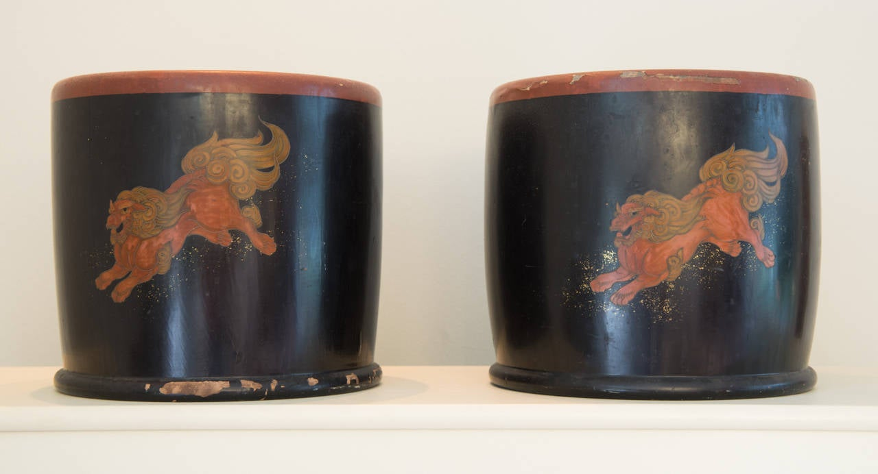 Wonderful pair of lacquer wood hibachis from the Meiji Period in Japan, circa 1900.