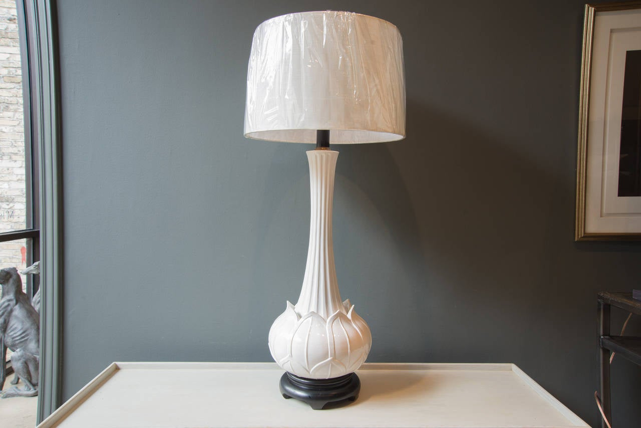 vintage hollywood regency blanc de chine lotus lamp for. Black Bedroom Furniture Sets. Home Design Ideas