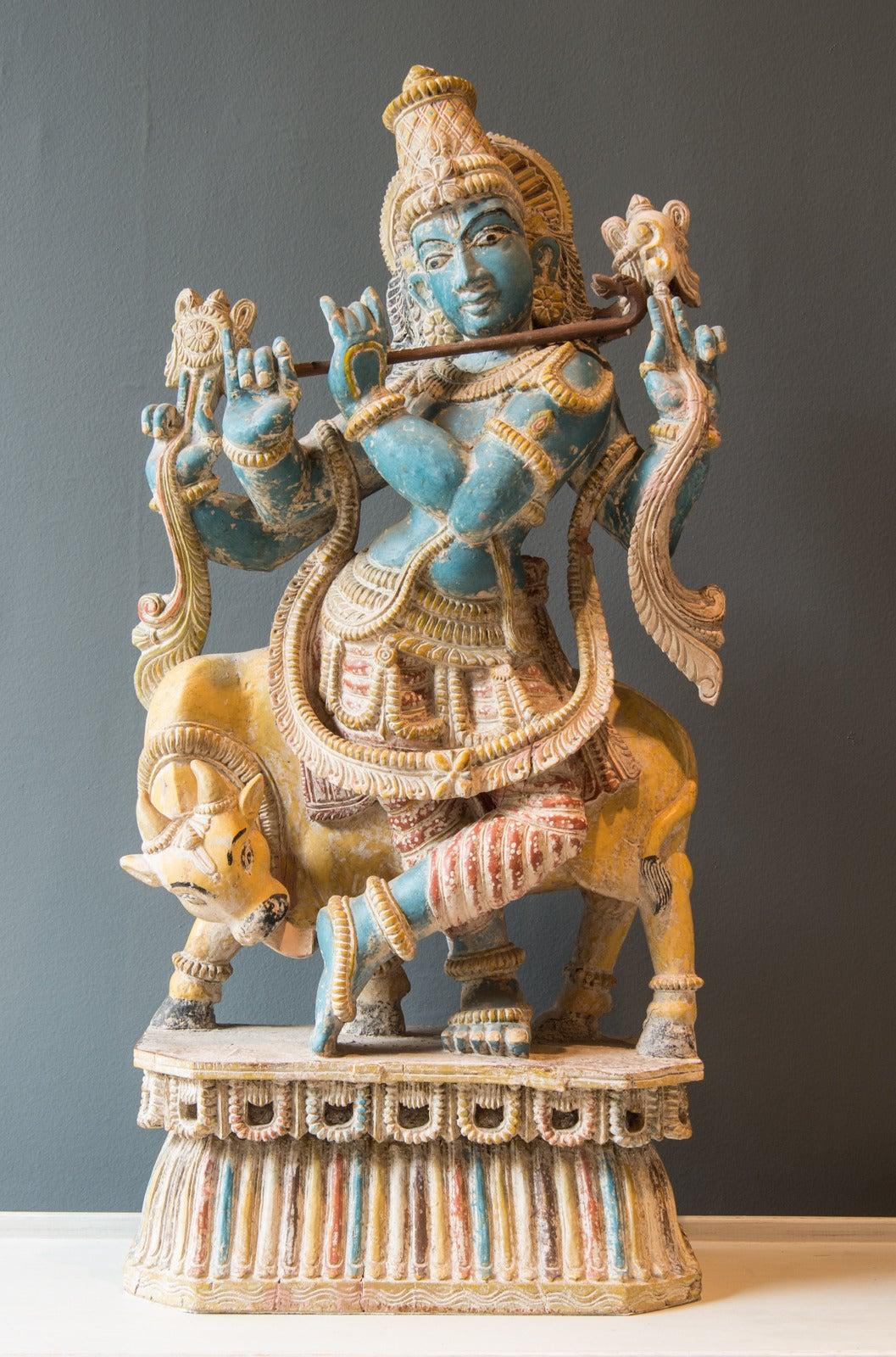 Polychrome Statue Depicting Hindu God Vishnu And Cow -2233