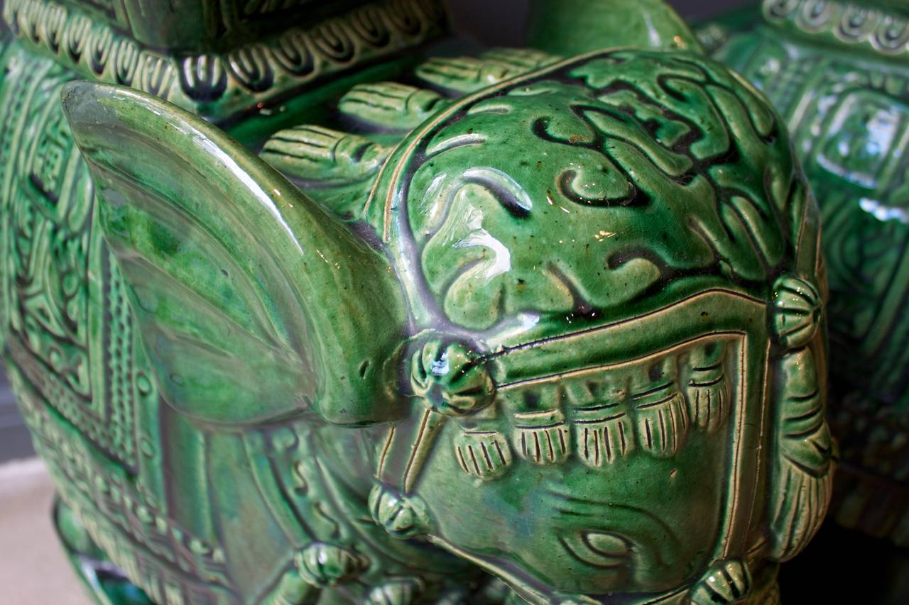 Terrific Pair Of Mid Century Elephant Emerald Green Glazed Ceramic Unemploymentrelief Wooden Chair Designs For Living Room Unemploymentrelieforg