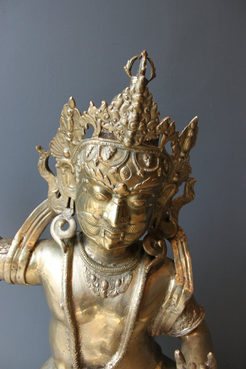 Mid-Century Large Brass Statute of Vajrapani, Protector of the Buddha, Tibet 3