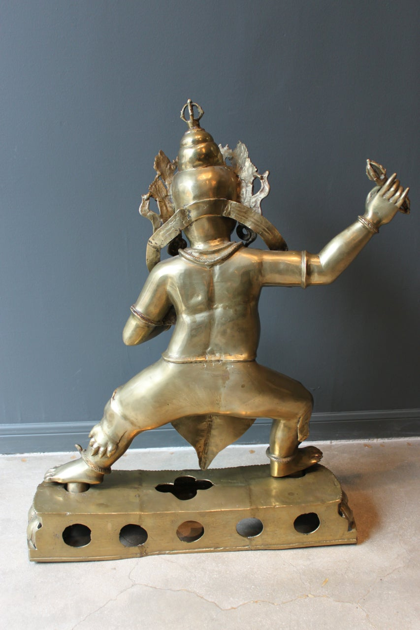 Mid-Century Large Brass Statute of Vajrapani, Protector of the Buddha, Tibet 10