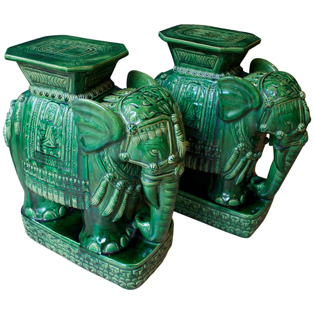 Pair Of Mid Century Elephant Emerald Green Glazed Ceramic