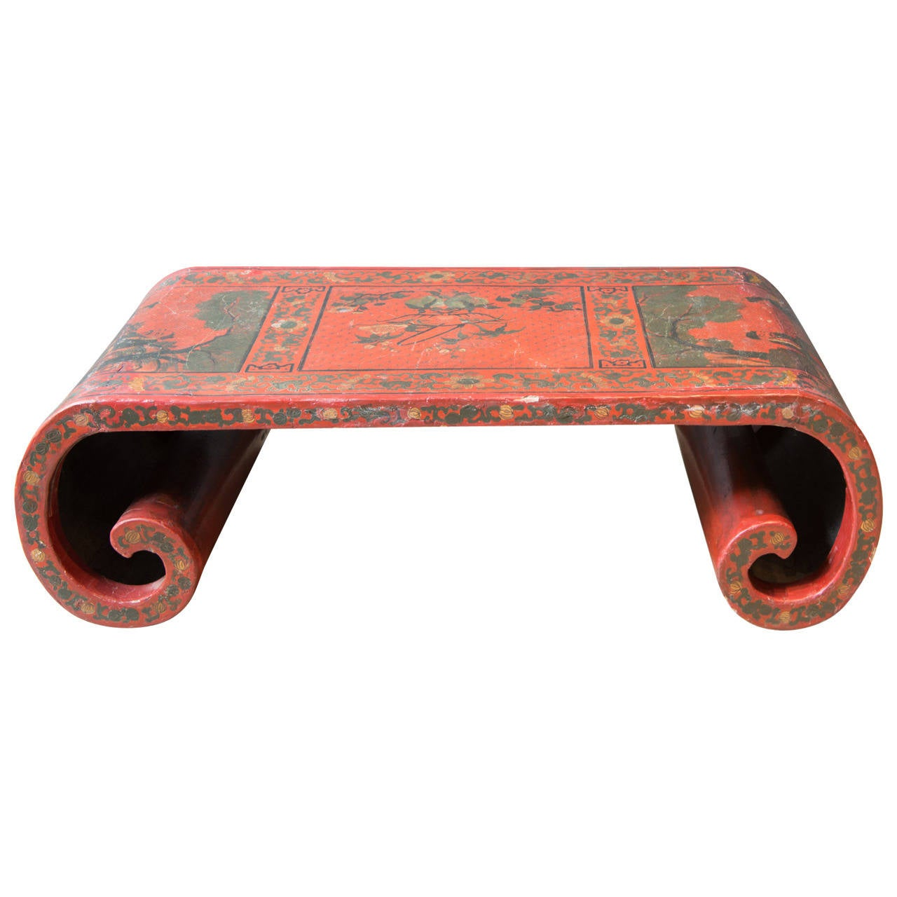 19th century chinese red lacquer scroll low cocktail for Table th scroll