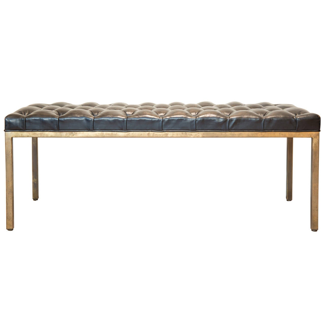 Mid Century Brass And Tufted Black Leather Bench Circa 1970 At 1stdibs