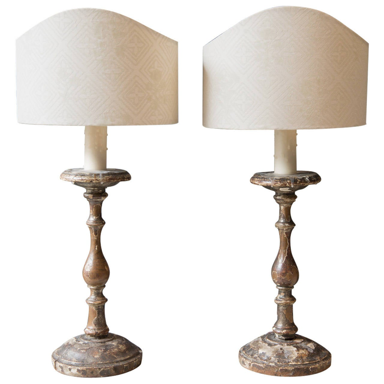Pair of 18th Century Italian Wood Candlestick Lamps with Custom ...