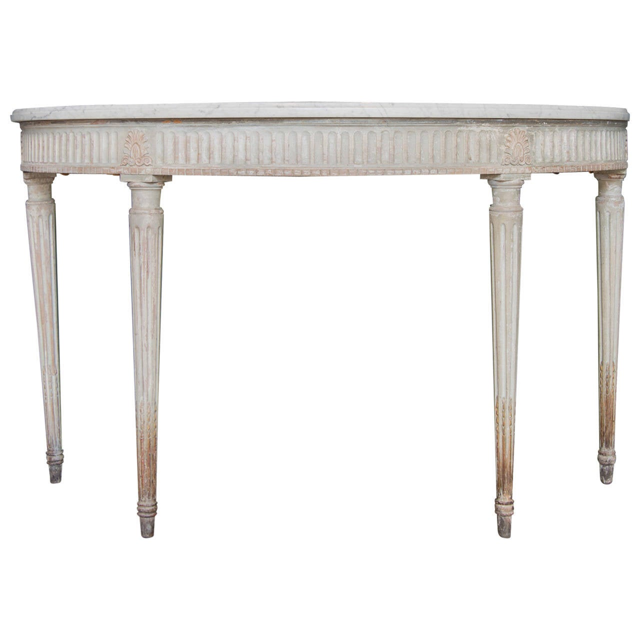 Louis xvi style demilune marble top console table france circa 1890 at 1stdibs White demilune console table