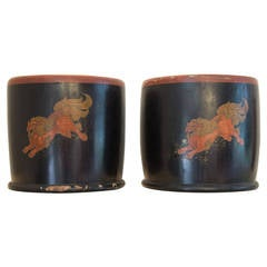 Pair of Japanese Lacquer Hibachis Depicting Shi-Shi Dogs, Meiji Period