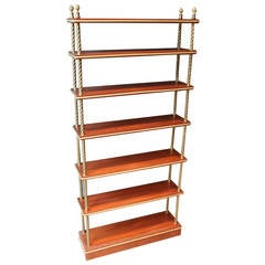 Etagere Bookshelf with Bronze-Trimmed Shelves and Brass, France, circa 1920