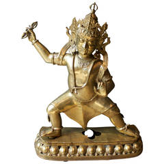 Mid-Century Large Brass Statute of Vajrapani, Protector of the Buddha, Tibet