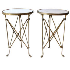 Pair of Neoclassical Bronze and Marble Gueridon Tables, France, circa 1920