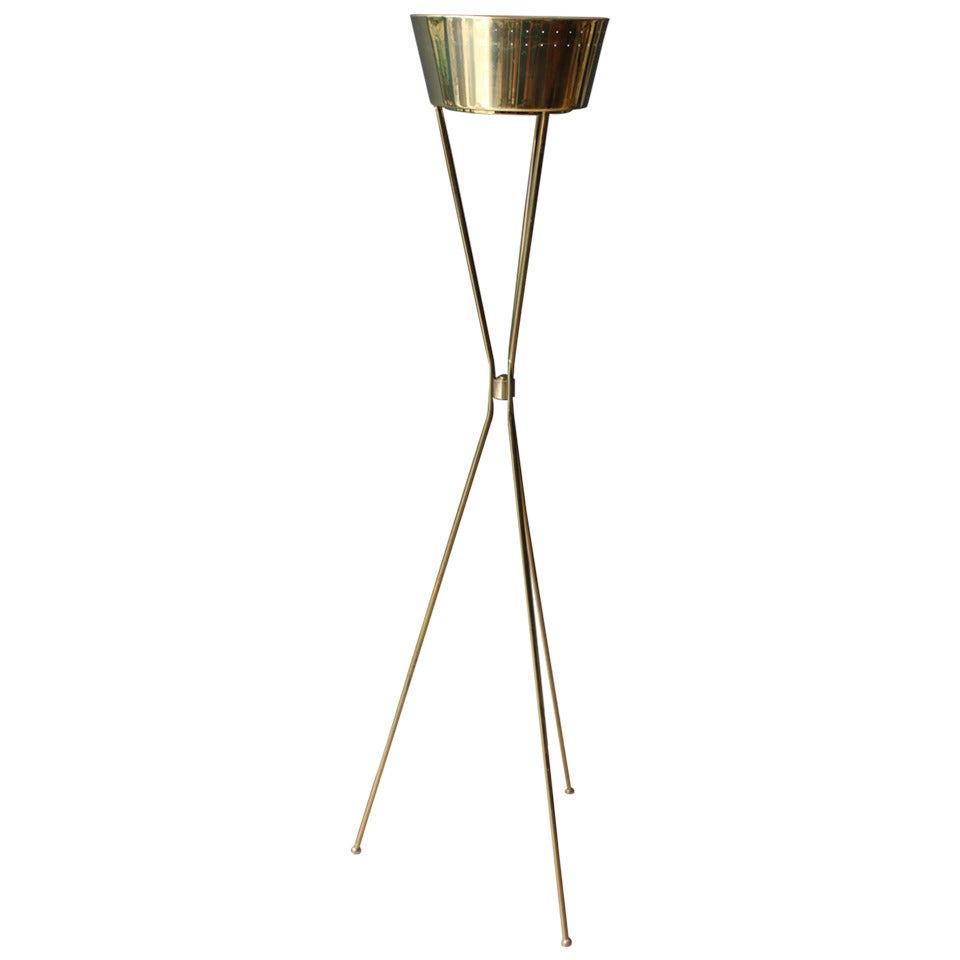 Mid-Century Brass Tripod Floor Lamp with Perforated Metal Shade at ...