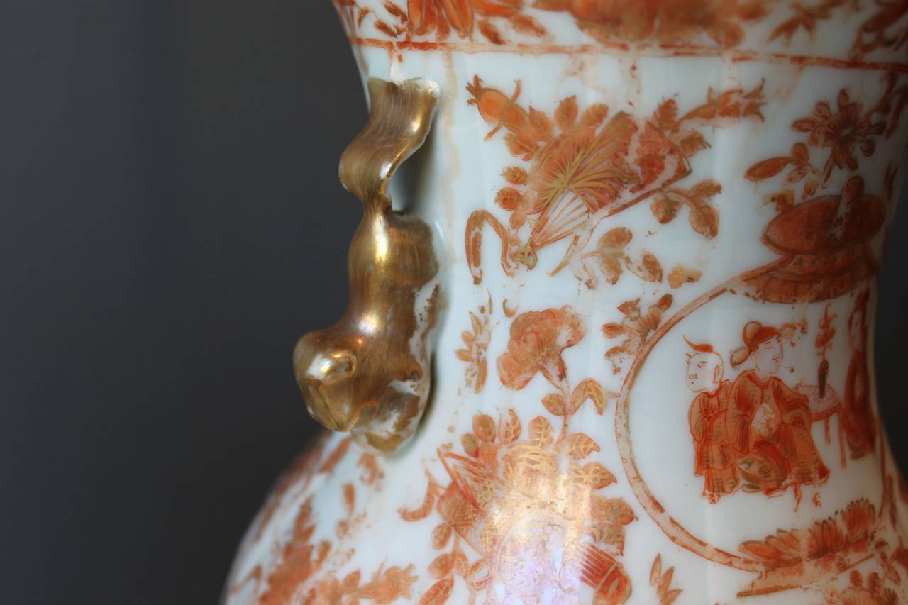 19th Century Pair Of Chinese Porcelain Lamps With Foo Lion