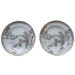 Pair of Chinese Export Grisaille Plates, circa 19th Century