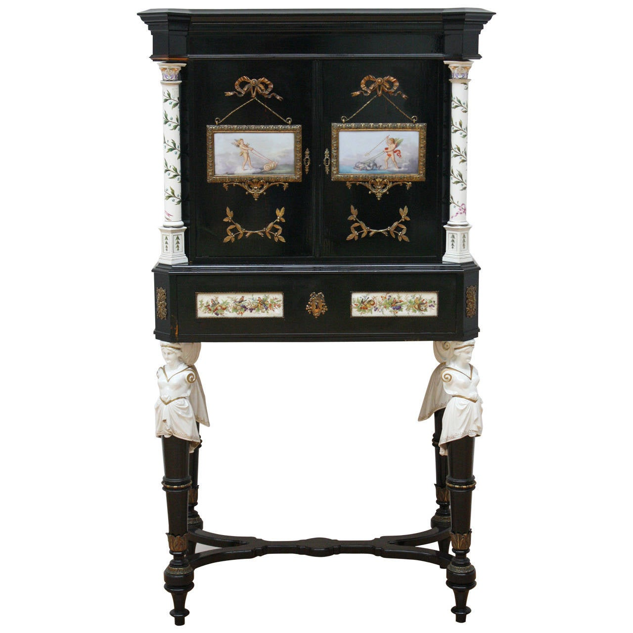 19th century elegant bonheur du jour with porcelain for. Black Bedroom Furniture Sets. Home Design Ideas