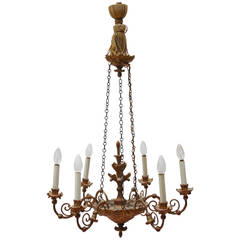 19th Century, Biedermeier Gilded Wood Chandelier
