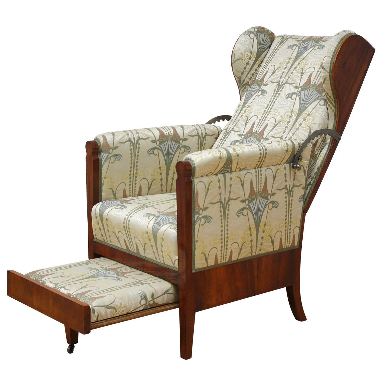 19th Century, Unusual Austrian Biedermeier Metamorphic Reclining Armchair  For Sale