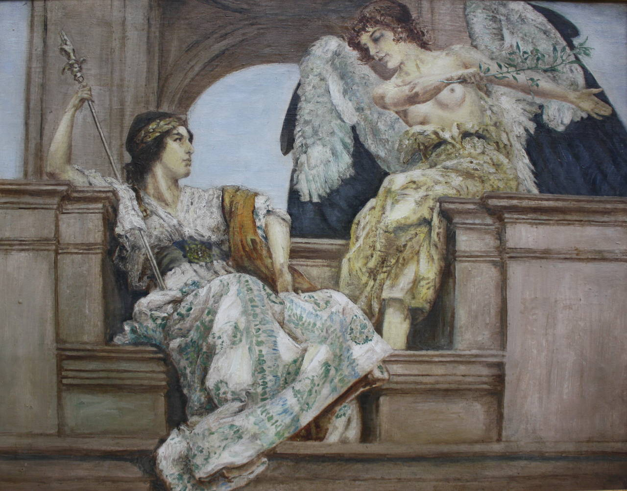 """19th Century """"Nike and Hera"""" Oil Painting For Sale at 1stdibs"""