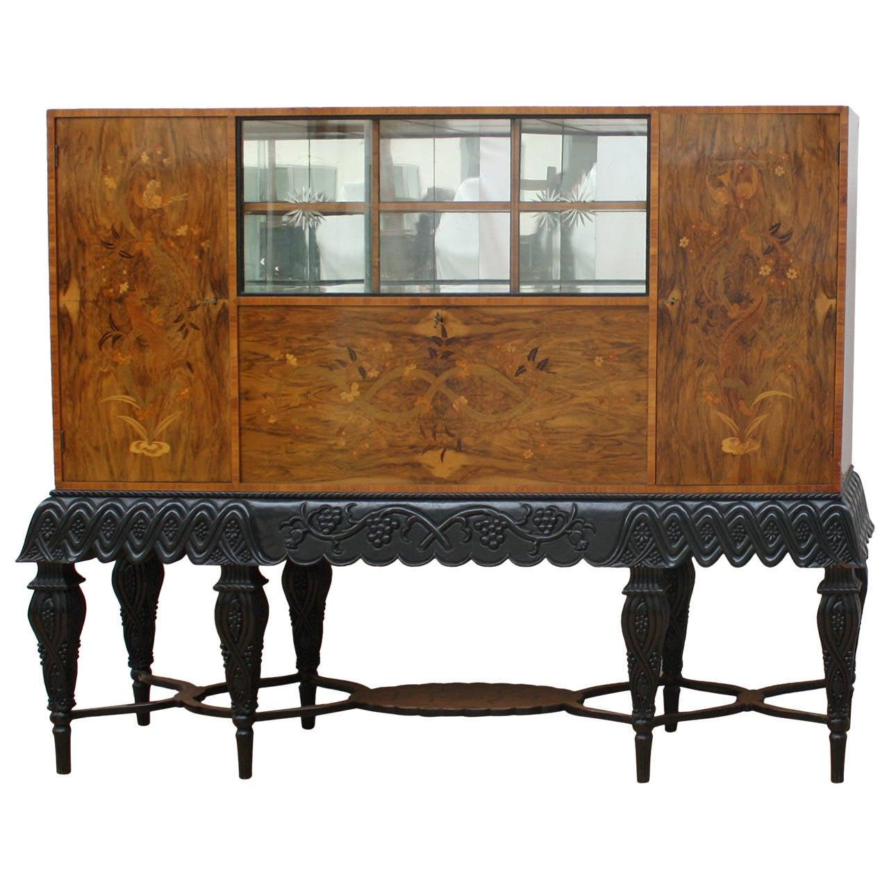 Austrian Art Deco Dry Bar Cabinet