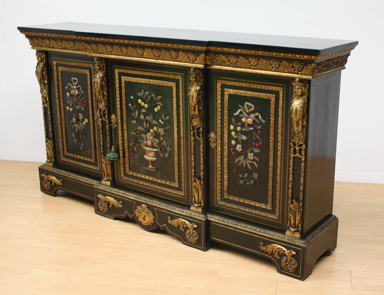 Napoleon III Bronze Mounted Ebonized Cabinet With Pietra Dura Hard Stone  Relief In Good Condition For