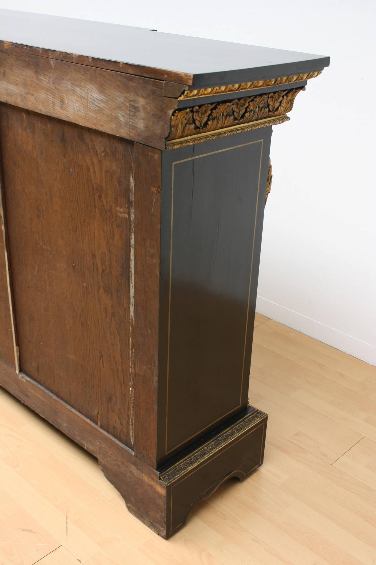 Napoleon III Bronze Mounted Ebonized Cabinet With Pietra Dura Hard Stone  Relief For Sale 4
