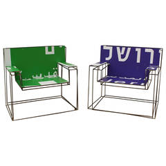 "Ezri Tarazi Pair of Armchairs ""DeFocus"" in Green and Blue"