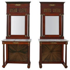 Pair of Empire Consoles with Mirrors