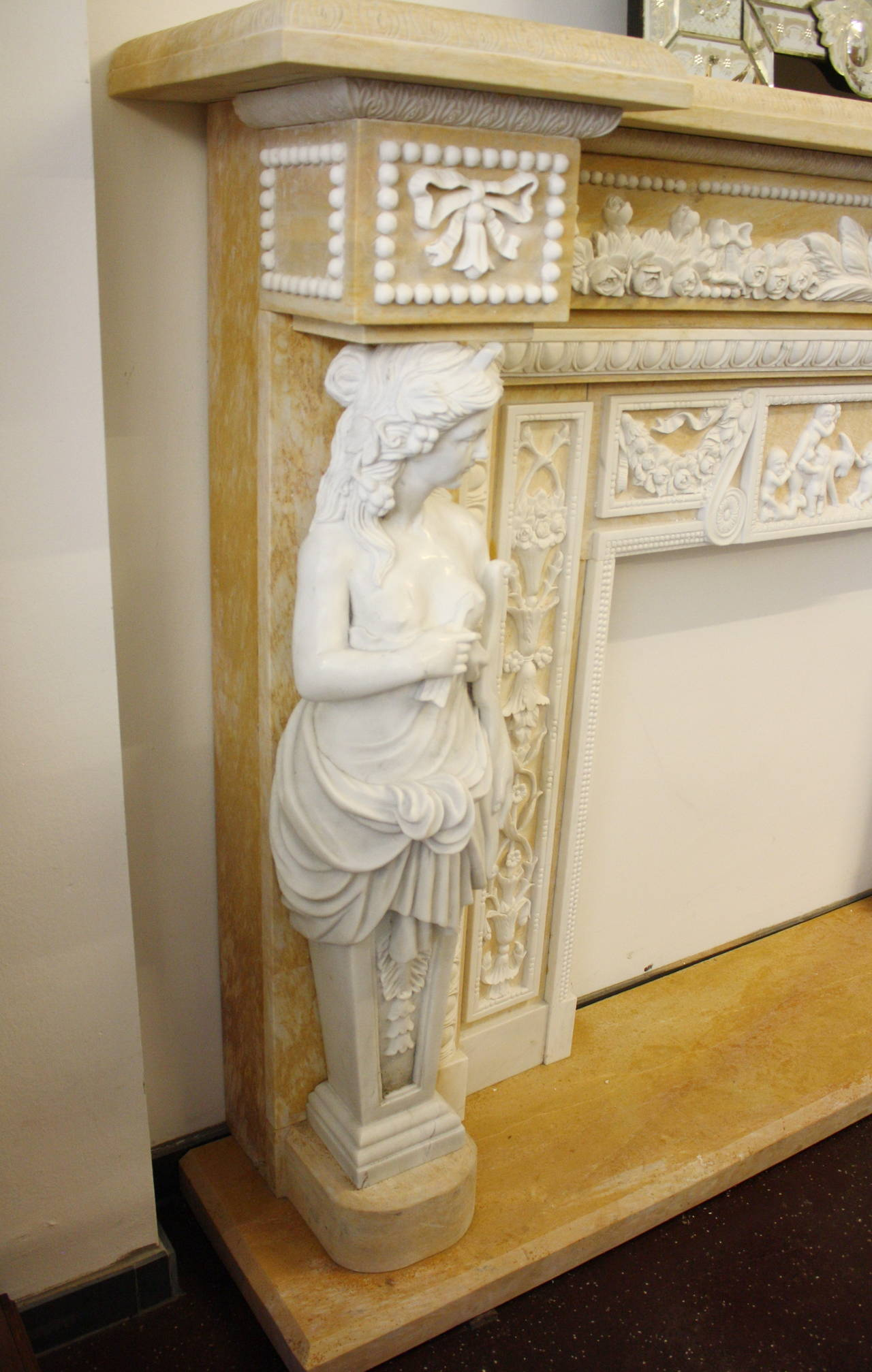 Monumenatl marble fireplace mantel for sale at 1stdibs for Marble mantels for sale
