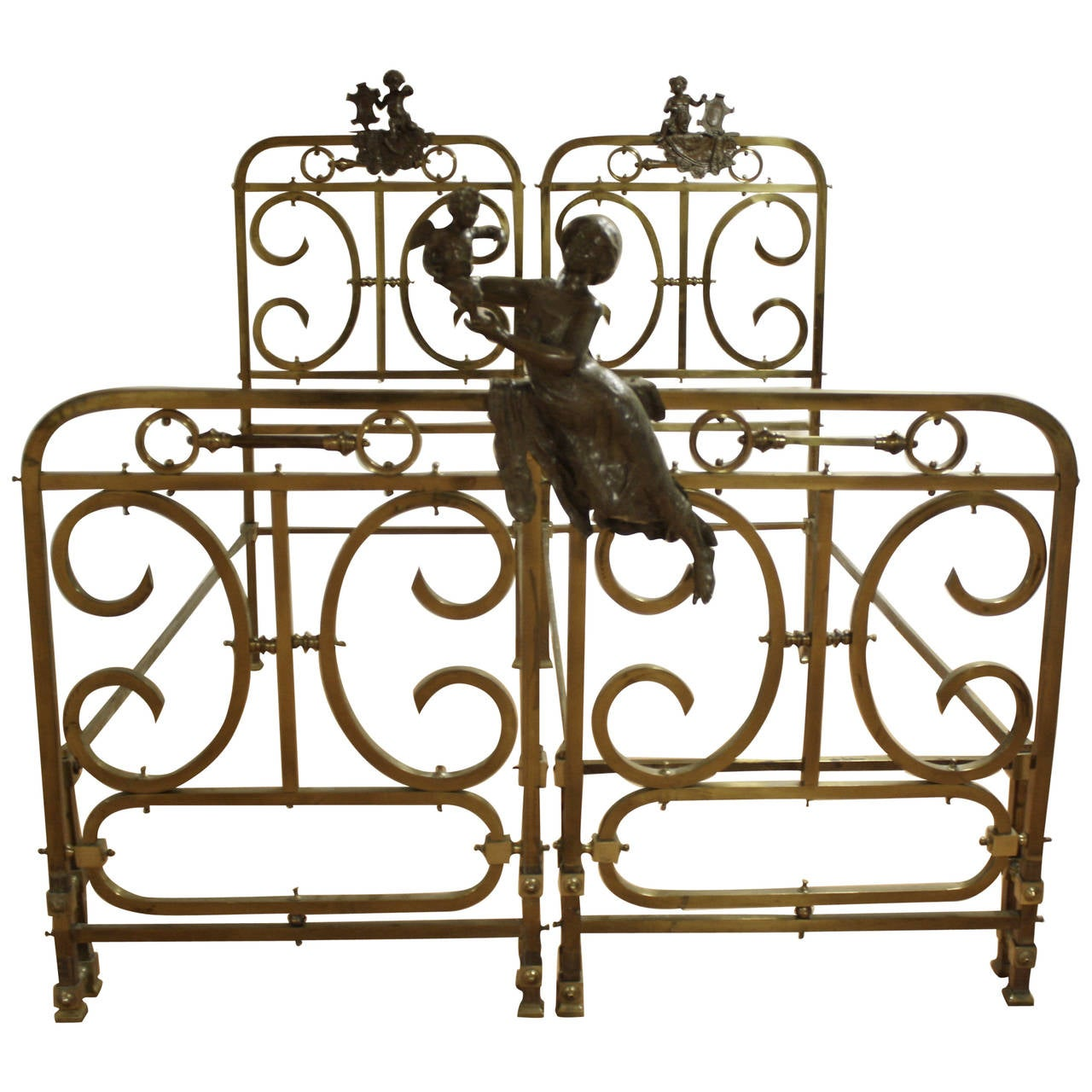 19th century pair of brass beds 1