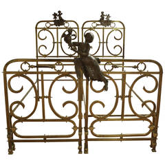 19th Century Pair of Brass Beds