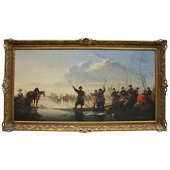 "19th Century Fine Oil Painting ""Bustling Activity at the Seaside"""