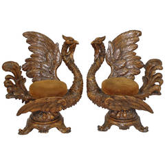 19th Century, Pair of Carved Wooden Swan Chairs