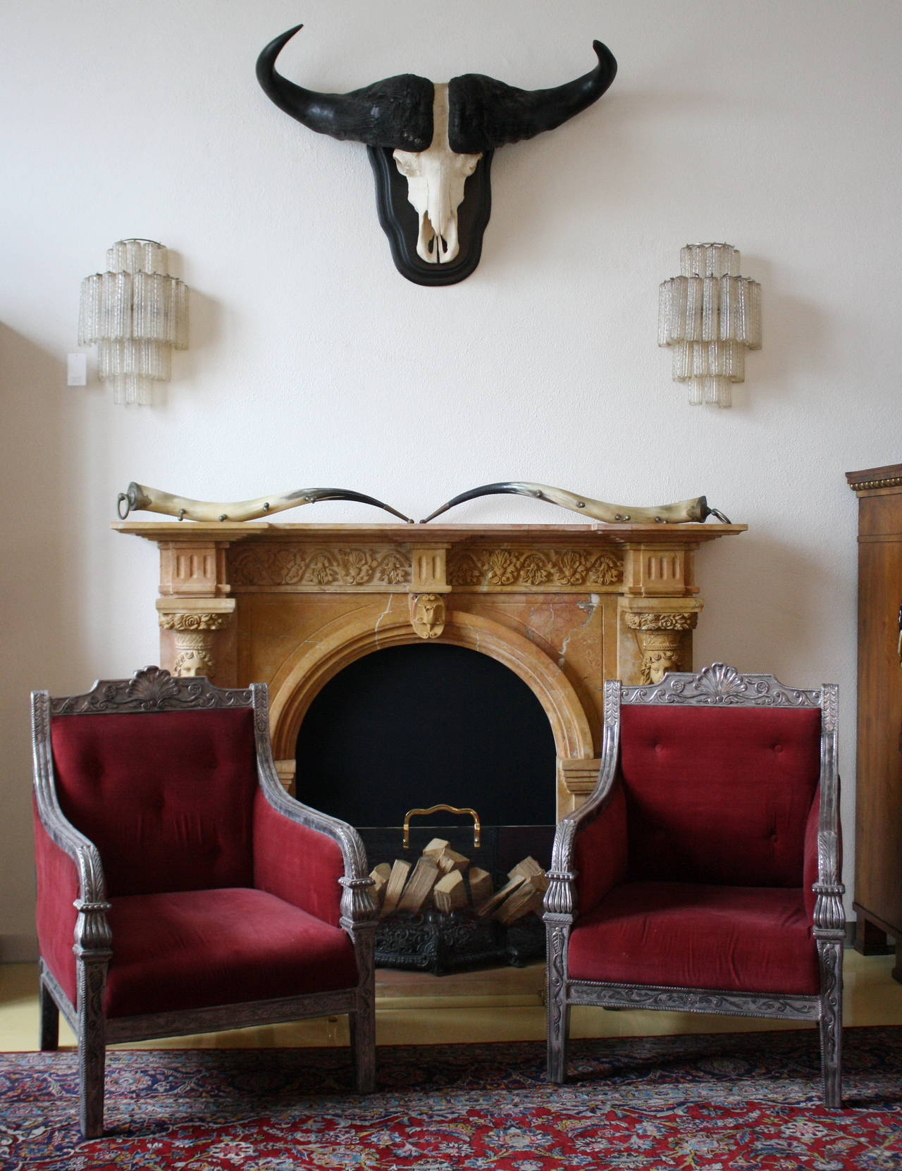 Late 19th Century Pair of Silver Mantled Armchairs For Sale