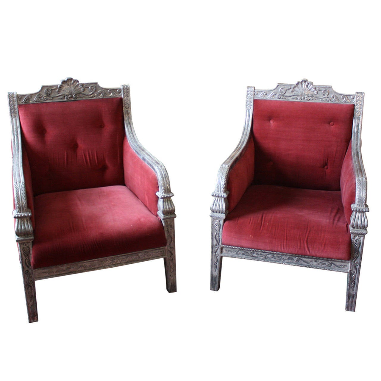 Pair of Silver Mantled Armchairs For Sale