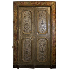Antique Lacquered Door Complete with its Original Frame
