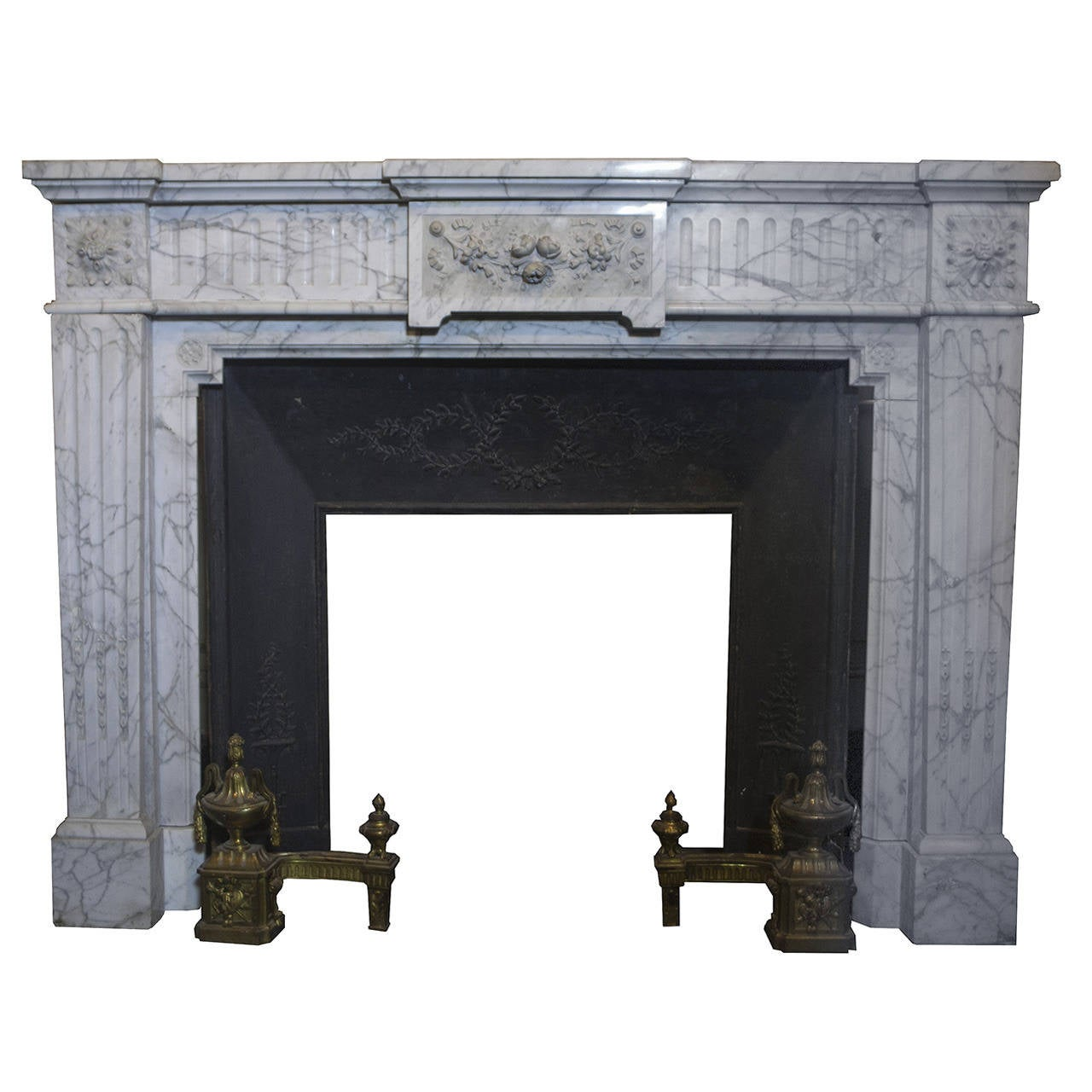 Antique marble fireplace for sale at 1stdibs for Marble mantels for sale