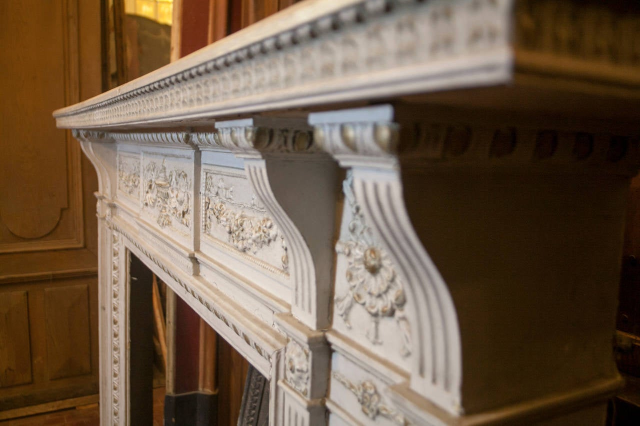 Antique Carved Fireplace Made Of Lacquered Wood For Sale