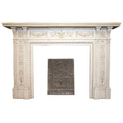 Antique Carved Fireplace, Made of Lacquered Wood